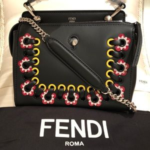 "NWT Fendi ""Dot Com"" Floral Grommet Leather Satchel"